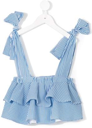 MSGM Kids tie strap striped top