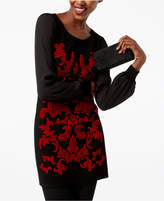 INC International Concepts Petite Velvet-Pattern Sweater, Created for Macy's