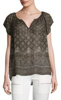 Joie Gilliane Silk Batik-Print Top