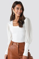 NA-KD Mesh Contrast Sleeve Jersey Blouse White