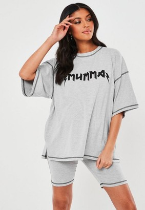 Missguided Gray Co Ord Mumma Graphic Maternity T Shirt