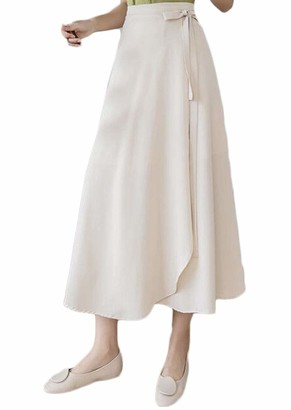 TeeYee Women One Piece Skirt Summer Irregular Split Long Dress Chest wrap Beige