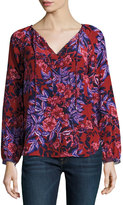 Rebecca Taylor Print Silk Long-Sleeve Tie-Neck Top, Burnt Red