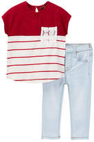 7 For All Mankind Color Blocked Tee & Skinny Jean (Baby Girls)