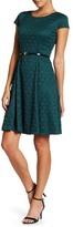 Eliza J Cap Sleeve Waist Belt Knit Dress (Petite)