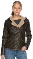 Levi's Women's Hooded Sherpa Faux-Leather Moto Jacket