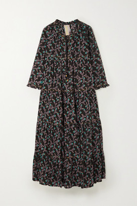Yvonne S Hippy Tiered Printed Cotton-voile Maxi Dress - Black