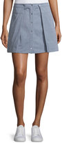 Alexander Wang Oxford Cotton Pleated Mini Skirt