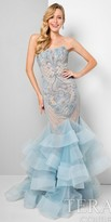 Terani Couture Lace Applique Beaded Tiered Prom Gown