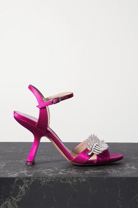 Nicholas Kirkwood Monstera Crystal-embellished Satin Sandals - Fuchsia
