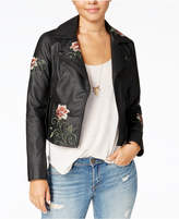 American Rag Juniors' Embroidered Faux-Leather Moto Jacket, Only at Macy's
