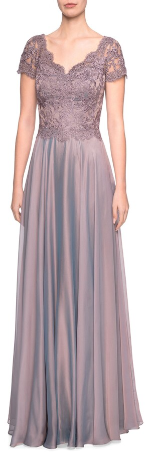 La Femme Embroidered Lace & Chiffon Evening Dress