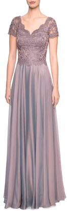 La Femme Embroidered Lace & Chiffon A-Line Gown