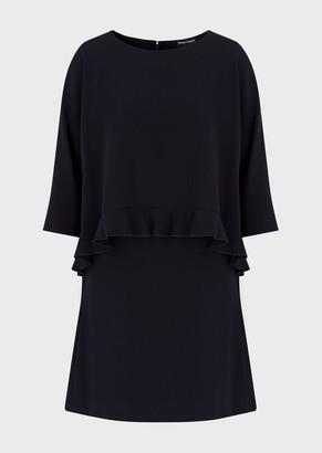 Emporio Armani Technical Sable Ruffled Dress