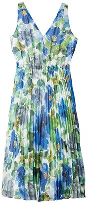 Maggy London Watercolor Printed Chiffon A-Line Dress w/ Pleated Skirt (Soft White/Cobalt) Women's Clothing