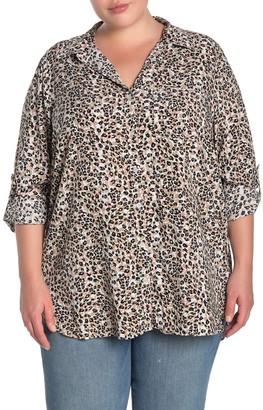 Velvet Heart Elisa Leopard Print Roll Sleeve Shirt (Plus Size)