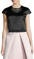 Milly Short-Sleeve Beaded Crop Top, Black