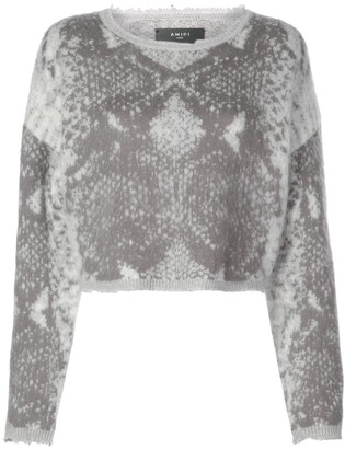 Amiri Snake cropped crew neck jumper