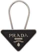 Prada Black and Silver Small Logo Keychain