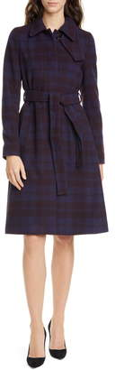 BOSS Callandi Plaid Belted Wool Coat