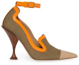 Burberry Brecon Ankle-Strap Colorblock Canvas & Leather Pumps