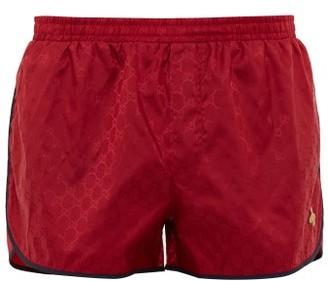 Gucci GG Bee-applique Swim Shorts - Mens - Red Multi