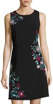 Laundry by Shelli Segal Embroidered A-Line Dress, Black Pattern