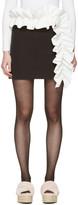 MSGM Black Contrast Ruffle Miniskirt