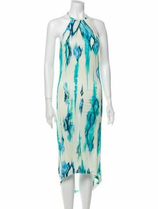 Matthew Williamson Striped Midi Length Dress w/ Tags Green