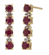 JCPenney FINE JEWELRY LIMITED QUANTITIES Lead Glass-Filled Ruby and 1/10 CT. T.W. Diamond Linear Earrings