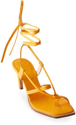 Tibi Ryo Heeled Toe-Ring Ankle-Tie Sandals