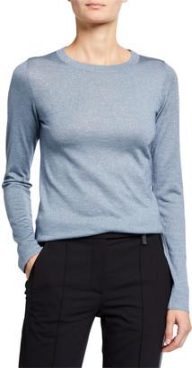Brunello Cucinelli Crewneck Long-Sleeve Cashmere-Blend Knit Pullover