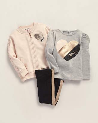Juicy Couture Infant Girls) 3-Piece Full-Zip Satin Trimmed Jacket & Leggings Set