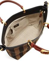 Fendi Pequin Striped Shoulder Tote Bag, Tobacco Black/Brown