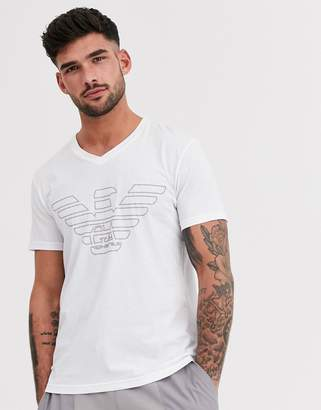 Emporio Armani slim fit large logo lounge v neck t-shirt in white