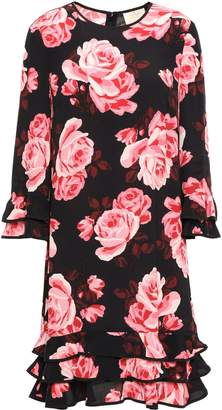 Kate Spade Tiered Floral-print Crepe De Chine Dress