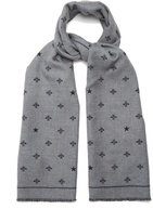 Gucci Star and bee-print wool scarf