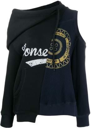 Monse asymmetric logo print sweater