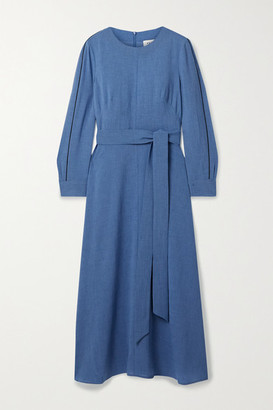 Cefinn Zoe Belted Voile Midi Dress - Blue