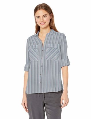 William Rast Women's Dalila Roll Tab Sleeve Button Up Shirt
