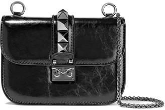 Valentino Rockstud Lock Crinkled Patent-leather Shoulder Bag