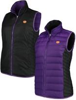 Columbia Unbranded Women's Black/Purple Clemson Tigers Lake 22 Reversible Puffer Vest