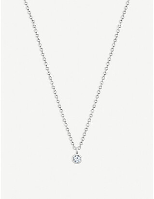 De Beers Women's Dewdrop 18ct White-Gold And Diamond Necklace