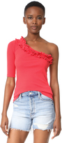 Rebecca Taylor One Shoulder Ribbed Jersey Top