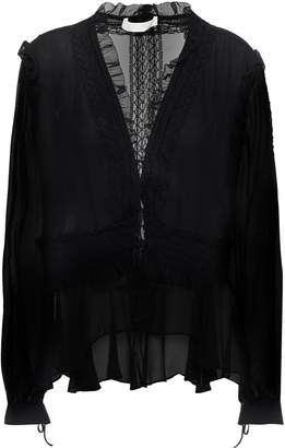 Jonathan Simkhai Ruffle And Lace-trimmed Silk-chiffon Blouse