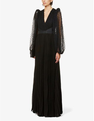 Givenchy Polka-dot silk and lace gown