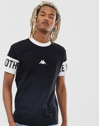 Kappa Authentic Baltos t-shirt with sleeve print and high neck in black
