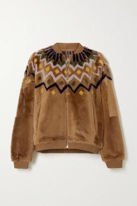 Yves Salomon Reversible Paneled Shearling Jacket - Camel