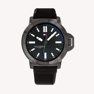 Tommy Hilfiger Diver Watch With Black Silicon Strap