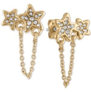 Rachel Roy Gold-Tone Pave Double Star & Chain Stud Earrings